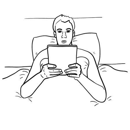 Man on the bed with a tablet. Vector sketch Vector Illustration