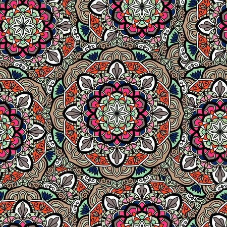 Seamless ethnic pattern with floral motives. Mandala stylized print template for fabric and paper. Indian or Arabic motive. Boho festival style.