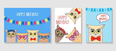 Cute owl for poster, greeting, birthday card and party decor. Vector illustration 일러스트