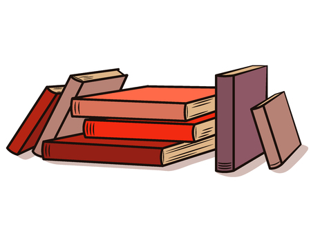 Stack of books in cartoon style. Vector illustration
