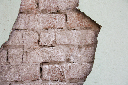 Old Brick Wall Texture. Painted Distressed Wall Surface Stock Photo