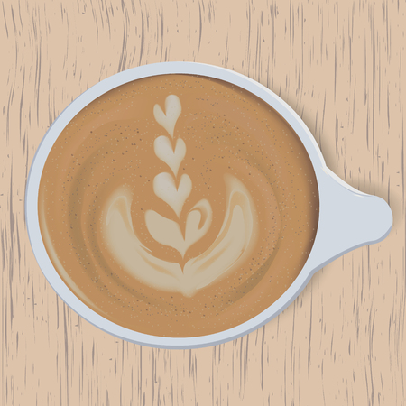 Latte Art. Rosetta. A cup of coffee on wooden background