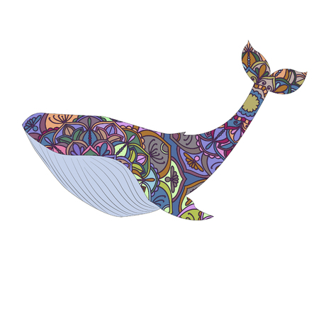 Whale vector illustration. Lace pattern