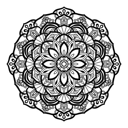 Decorative mandala isolated on white background. Indian ornament. Vector illustration. Hand drawn background. Elements for your design. Stock Illustratie