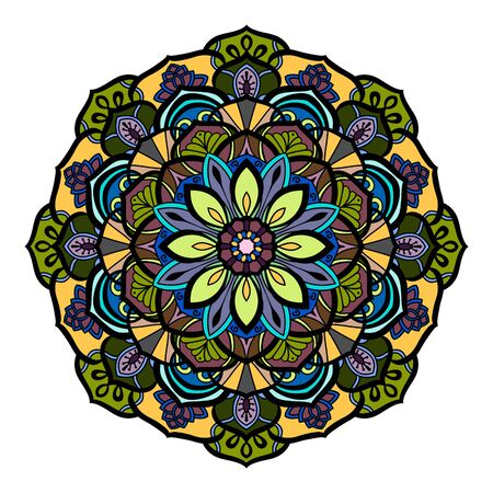 Decorative mandala isolated on white background. Colored indian ornament. Vector illustration. Hand drawn background. Elements for your design.