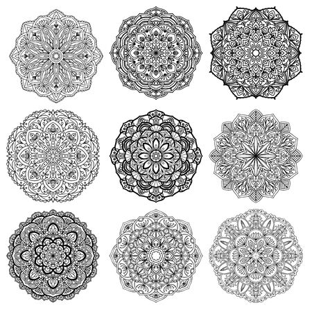 Set of mandalas for coloring book. Decorative round ornaments. Anti-stress therapy patterns. Weave design elements. Backgrounds for meditation poster. Unusual flower shape. Oriental vector