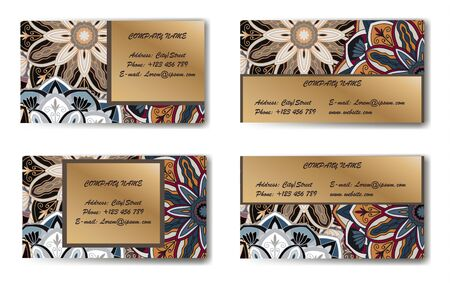 Business Card. Vintage decorative elements. Ornamental floral business cards, oriental pattern, vector illustration. Islam, Arabic, Indian, turkish, pakistan, chinese, ottoman motifs. Stock Illustratie