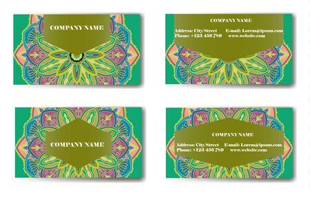Business Card. Vintage decorative elements. Ornamental floral business cards, oriental pattern, vector illustration. Islam, Arabic, Indian, turkish, pakistan, chinese, ottoman motifs. Illustration