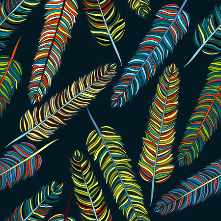 Vector hand-drown feathers seamless pattern
