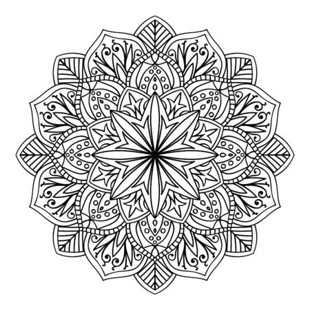 Ornamental round floral pattern. Ornaments with vintage elements Mandala. Vector Ethnic Oriental Circle Ornament. White and black abstract floral element