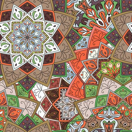 Seamless round pattern. Hand drawn background. Colored indian ornament. Vector illustration. Elements for your design.