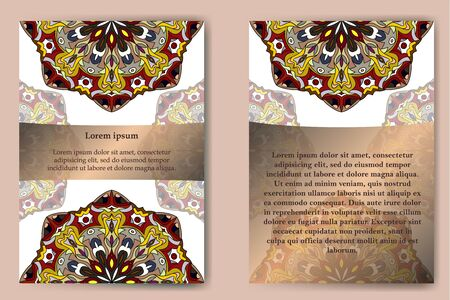 Cards with mandala pattern. Vector Flyer oriental design layout template, size A5. Islam, Arabic, Indian, ottoman motifs. Front page and back page.