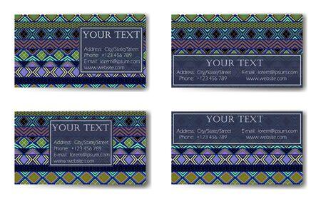 Business Card. Vintage decorative elements. Ornamental business cards, vector illustration. Ethnic motifs.