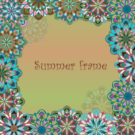 Decorative original hand-drawn frame. Original vintage frame template, background design. Hand drawn frame with colorful mandalas Illustration