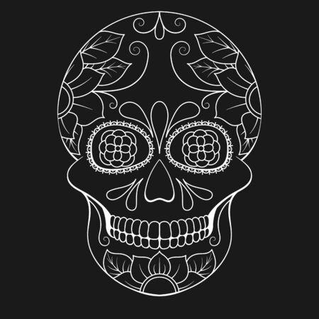 Day of The Dead Skull with floral ornament. Mexican sugar skull. Vector illustration Archivio Fotografico - 130659412