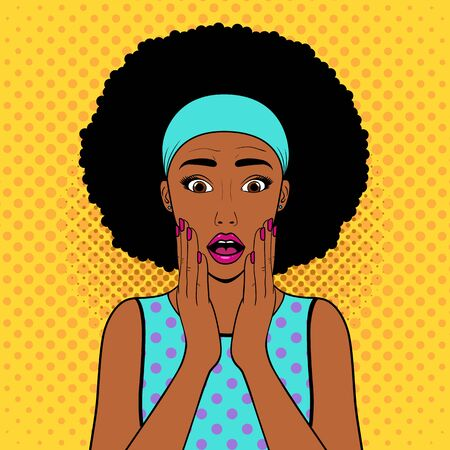 Surprised woman with afro hair.Comic woman. Wow face female. Pop Art vintage vector illustration