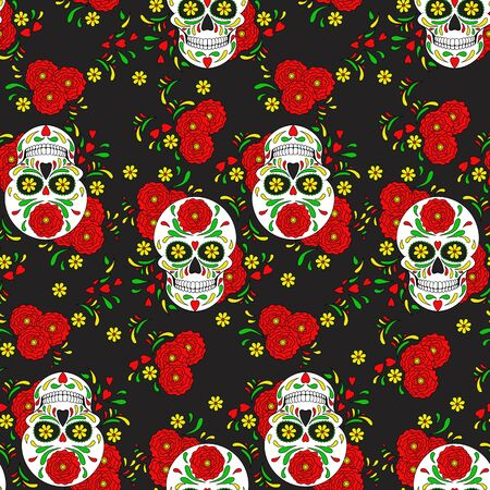 Day of The Dead colorful Skull with floral ornament. Seamless pattern. Mexican sugar skull. Vector illustration Illustration