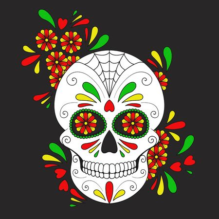 Day of The Dead colorful Skull with floral ornament. Mexican sugar skull.