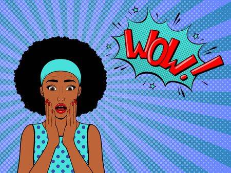 Surprised woman with afro hair .Comic woman with speech bubble. Wow face female. Pop art vintage vector illustration Illustration