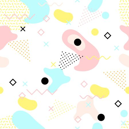 Seamless pattern in pastel color. Memphis style. Vector illustration