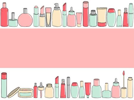 Background with different types of hand-drawn cosmetics with place for text. Vector illustration Stock Illustratie