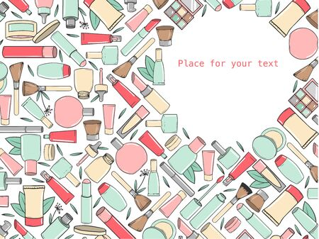 Background with different types of hand-drawn cosmetics with place for text. Vector illustration Иллюстрация
