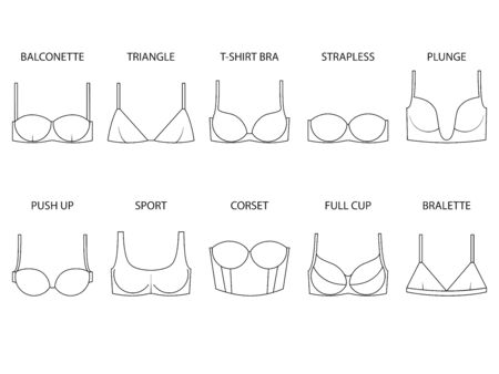 Types of womens bra isolated on white background. Set of brassieres - push up, sport, full cup, balconette, plunge, bralette, corset, triangle, t-shirt, strapless. Vector illustration