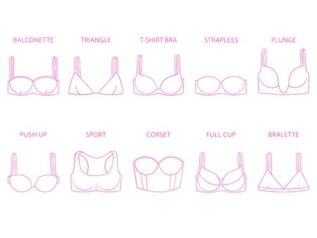 Types of women's bra isolated on white background. Set of brassieres - push up, sport, full cup, balconette, plunge, bralette, corset, triangle, t-shirt, strapless. Vector illustration