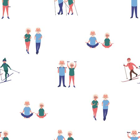 Happy elderly man and woman goes in for sports set. Skiing, dumbbell exercises, running, yoga, nordic walking. Elderly people active lifestyle seamless pattern. Vector illustration