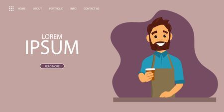 Landing page with a Barista giving coffee to go in a cafe interior. Illustration in flat style for banner, site, lending and social network covers. Vector illustration Stock Illustratie