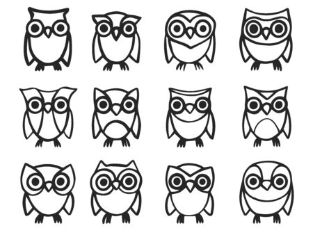 Collection of hand-drawn cute owls isolated on white background. Vector illustration Иллюстрация