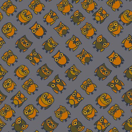 Seamless pattern with hand-drawn cute owls. Vector illustration