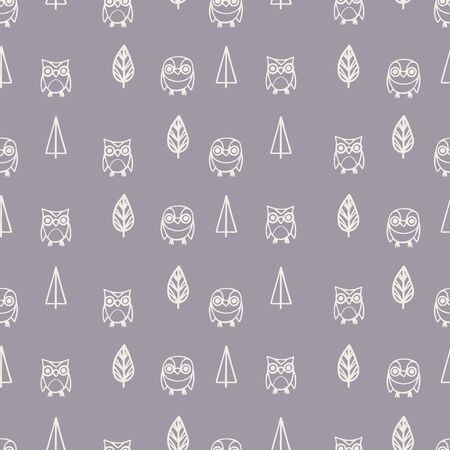 Seamless pattern with hand-drawn cute owls and trees. Vector illustration Stock Illustratie