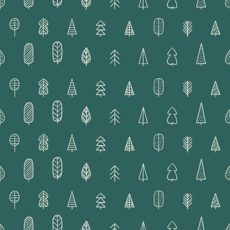 Seamless pattern with hand-drawn trees. Forest pattern. Vector illustration