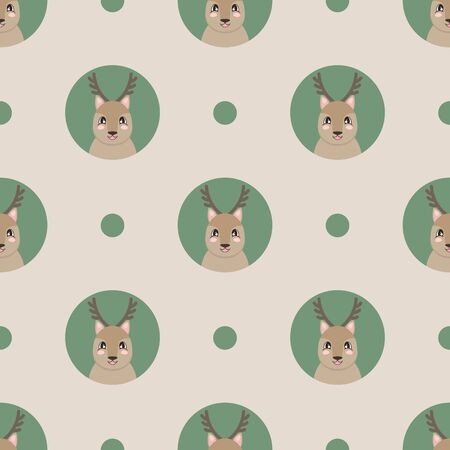 Seamless pattern with a cute deer in cartoon style. Vector illustration Illustration
