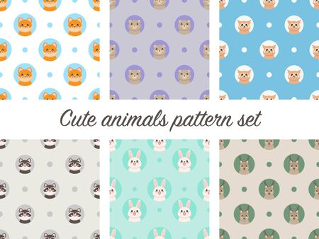 Seamless pattern with portraits of cute animals in cartoon style. Rabbit, deer, owl, racoon, bear and fox. Vector illustration