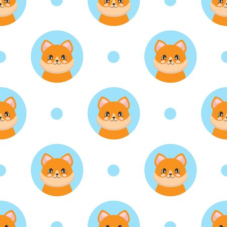 Seamless pattern with a cute fox in cartoon style. Vector illustration