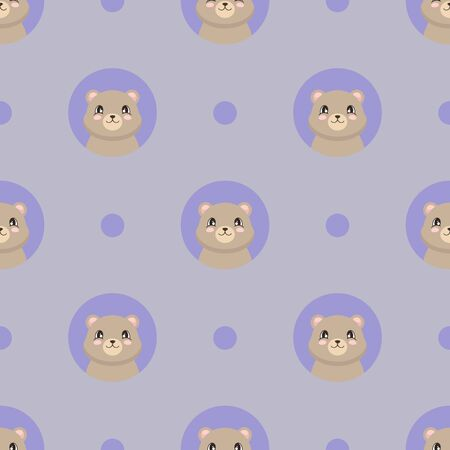 Seamless pattern with a cute bear in cartoon style. Vector illustration Çizim