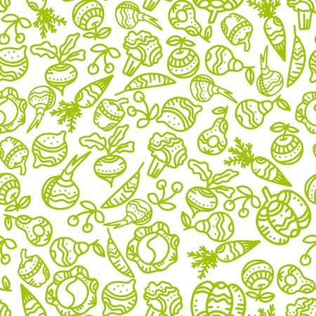 Seamless pattern with hand drawn ornate vegetables and fruits. Vector illustration