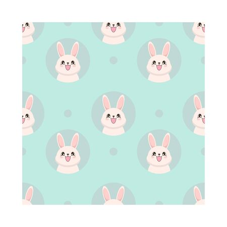 Seamless pattern with a cute white bunny in cartoon style. Vector illustration Illustration