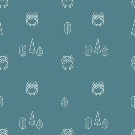 Seamless pattern with hand-drawn cute owls and trees. Vector illustration Illustration