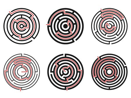 Set of simple black round labyrinths with red way isolated on white background. Vector illustration