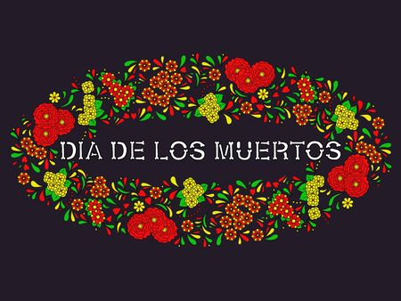 Text Dia De Los Muertos decorated with flowers. Mexican Day of The Dead. Vector illustration Çizim
