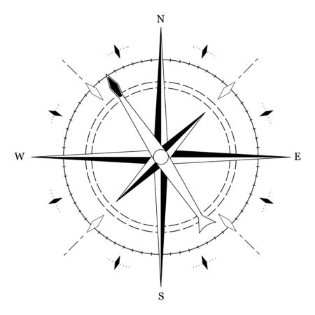 Simple sign of compass isolated on white background. Vector illustration