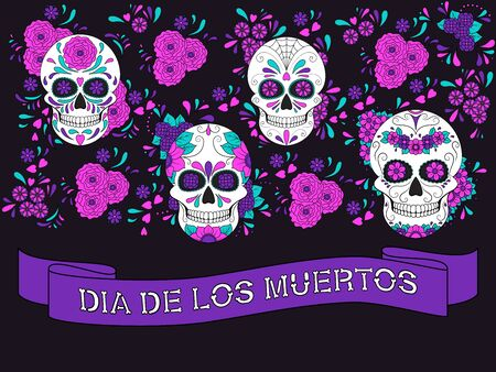 Day of The Dead colorful Skull with floral ornament and ribbon with text Dia De Los Muertos. Mexican sugar skull. Vector illustration