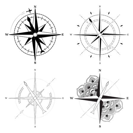 Simple signs of compasses set on white background. Vector illustration