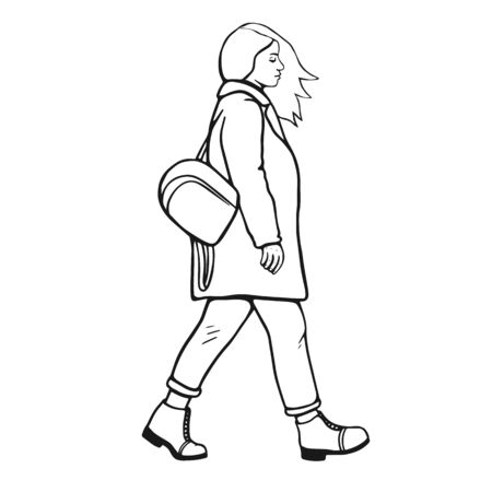 Modern urban girl is walking. Black and white sketch. Windy illustration