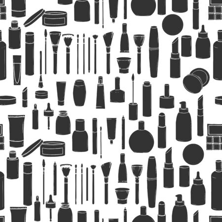 Seamless pattern with hand-drawn cosmetics isolated on a white background. Jars, tubes, brushes and bottles silhouettes collection. Vector illustration