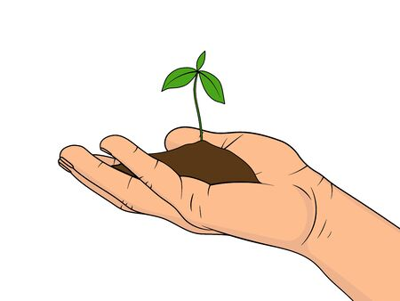 Young plant in the palm of hand isolated on white background. Concept of growth and caring. Vector illustration in cartoon style. Illustration