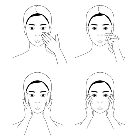 A collection of touches to the face. Female skin care. Vector illustration